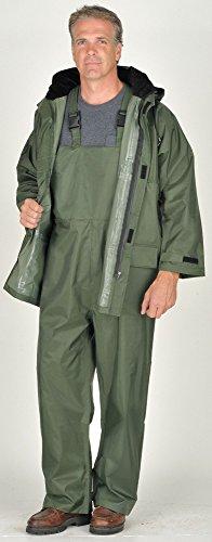 Menx27;s 150D Rip-Stop Polyester w/ PVC backing 3-Piece Rainsuit with Detachable Hood, Size: L, Fits Ch