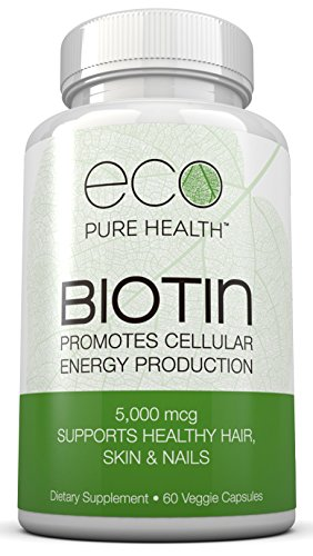 Eco Pure Health Biotin Dietary Supplement — Essential for Clear and Healthy Skin, Supports Healthy Hair and Nail Growth, Promotes a Strong Metabolism for Weight Loss, Easy to Swallow Veggie Capsules