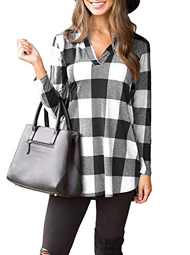 LACOZY Womens Loose Buffalo Plaid Tunic Shirts Notch Neck Long Sleeve T Shirt Top Blouse White Medium (10/12)