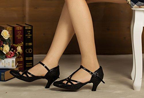 Minitoo QJ6133–Zapatos de bailes latinos para mujer, dedos cerrados, piel sintética, con purpurina, tacón alto, correa en T Black-6cm Heel