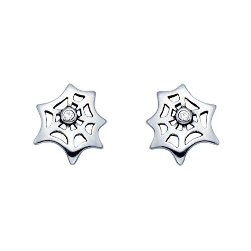 Small Stainless Steel Spider Web Stud Earrings w/Crystal Stone