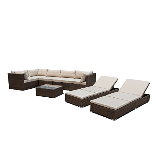 Supernova outdoor patio 8pc sectional furniture pe wicker Supernova furniture