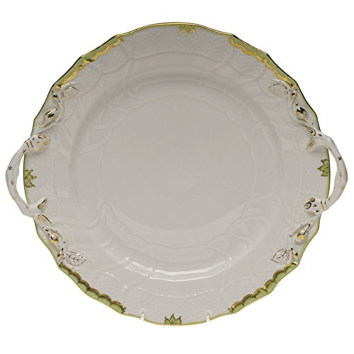Herend Princess Victoria Green Porcelain Chop Plate with Handles