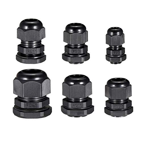 - uxcell 30 Pcs (5 Pcs of each model) PG7 PG9 PG11 PG13.5 PG16 PG21 Waterproof IP68 Nylon Cable Gland Joint Adjustable Locknut for 3.5mm-18mm Dia Cable Wire