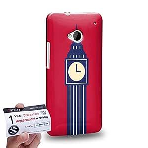 Case88 [HTC One M7] 3D impresa Carcasa/Funda dura para & Tarjeta de garantía - Art London Cityscape London Bigben