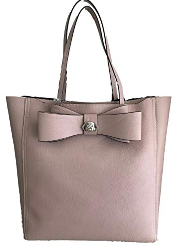Betsey Johnson Silver Tone Metal Charm Double Bow Triple Entry Blush Pebble Faux Leather XL Tote Shoulder ()