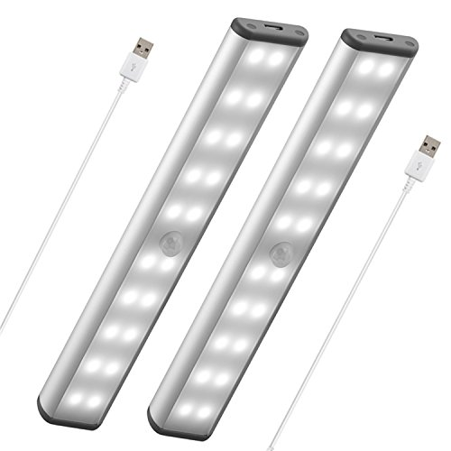 Stick-On Anywhere Portable Closet Lights Wireless 20 Led Under Cabinet Lighting Motion Sensor Activated Build In Rechargeable Battery Magnetic Little Safe Night Tap Light for Closet Cabinet (Silver) ()