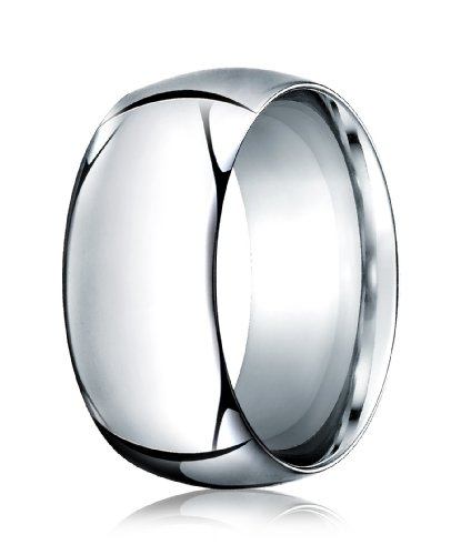 Mens 14K White Gold, 10.0mm High Dome Heavy Comfort-Fit Ring (sz 10) by Aetonal