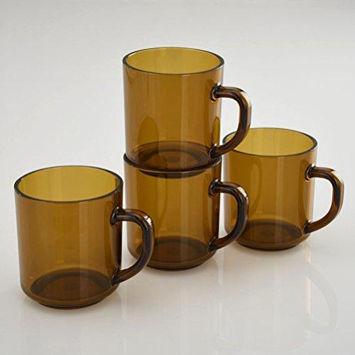 CITYPOINT 4 pcs 11 OZ OZ Brown Color Plastic Coffee Mug, Break-Resistant Commercial Plastic Party Juice Cups, Picnic Drinking Cup