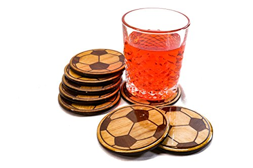 Soccer Ball Coasters Set of 4 - Perfect Gift Room Decor Home Barware - 3.5