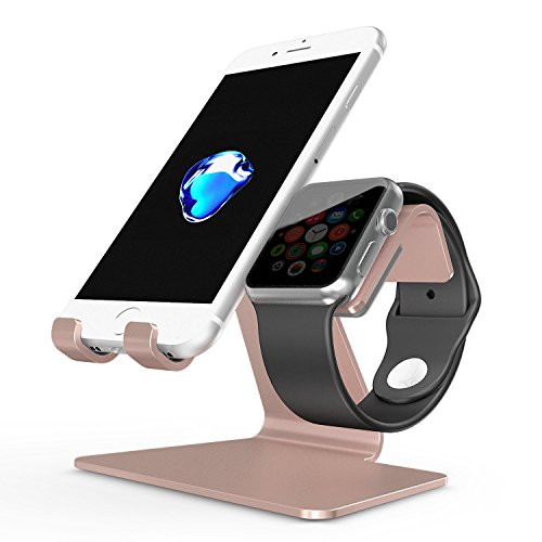 Price comparison product image Apple Watch Stand, OMOTON 2 in 1 Universal Desktop Cell Phone Stand and Apple Watch Stand, Advanced 4mm Thickness Aluminum Stand Holder for iPhone and Apple Watch (Both 38mm & 42mm), Rose Gold