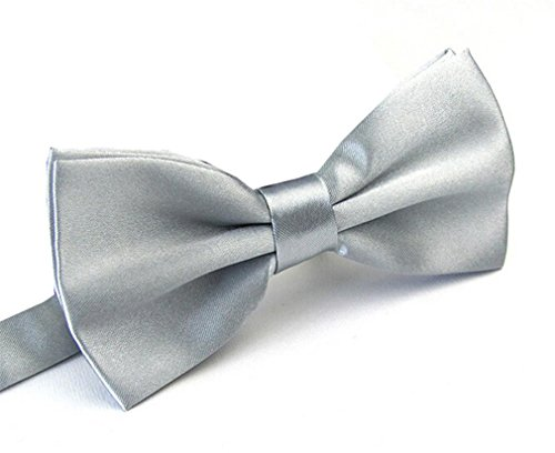 Men's Pre Tied Bow Ties for Wedding Party Fancy Plain Adjustable Bowties Necktie (Silver)