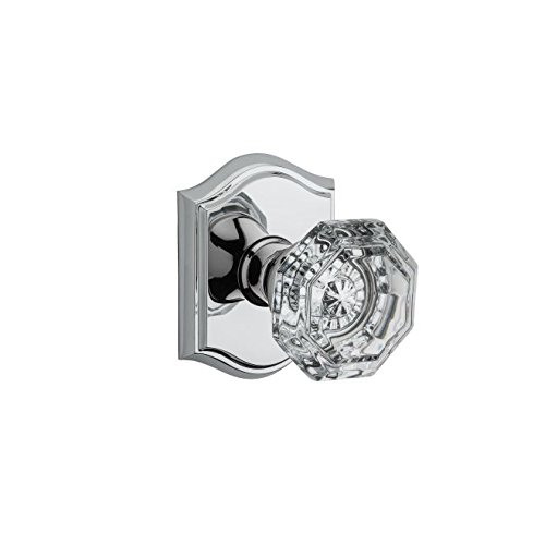 Baldwin HD.CRY.TAR Crystal Single Dummy Door Knob with Traditional Arch Trim fro, Polished Chrome ()