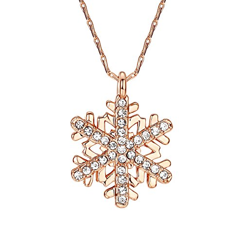 Yoursfs 18K Rose Gold Plated Snowflake Necklace For Girls Crystal Snowflake Pendant Necklace for Women Sparkle Party Jewelry CZ Necklace Gift