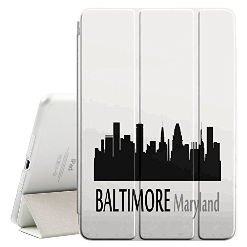 STPlus Baltimore, Maryland USA United States of America City Skyline Silhouette Postcard Smart Cover With Back Case + Auto Sleep/Wake Funtion + Stand for Apple iPad 2017 (9.7