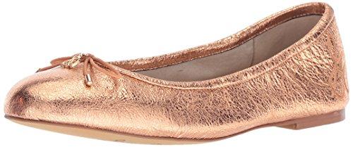 Sam Edelman Women's Felicia Ballet Flat, Copper Penny Crinkle Metallic Leather, 7 M US (Flats Ballet Metallic Leather)