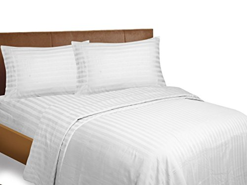 Bonne Nuit 500 Thread Count Hotel Collection Luxury Bedding Bed Sheets - Bestseller- Super Sale 100% Cotton Sateen - Wrinkle Resistant Sheet Set-Queen Stripe White Color (Sale White Queen Beds For)