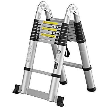 Ollieroo 16.5ft EN131 Portable A-type Aluminum Telescopic Extension Ladder with Spring Loaded Locking Mechanism Non-slip Ribbing 330lb Capacity