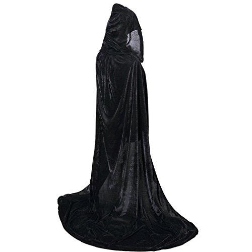 Fancy Black Masquerade Cape (BIGXIAN Extra Long Hooded Velvet Cloak Halloween Christmas Fancy Cape Various Colors Black)