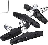 Bike Brake Pads Set V-Brake Blocks Set 2 Pairs for Road Mountain Bicycle with Hex Nut, 70 mm/2.76&