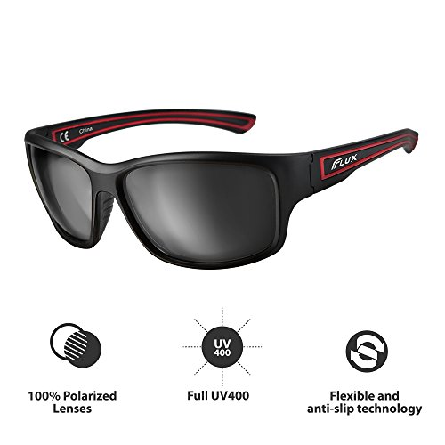 Flux Polarized Sports Sunglasses with Anti-Slip Function and Light Frame - for Men and Women when Driving, Running, Baseball, Golf, Casual Sports and Activities: - Ski Sunglasses