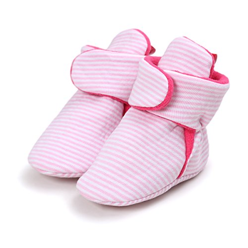 Save Beautiful Baby Fleece Booties Newborn Infant Toddler Slippers Crib Shoes Warm Boots With Anti Slip Bottom First Walking Prewalker Shoes (12-18 Months, Pink) (Booties Cotton)