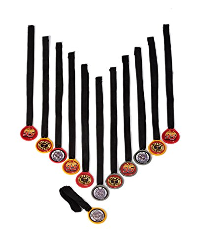 "Disney Cars Formula Racer Birthday Party Mini Award Medal Favour, Pack Of 12, Multi , 13"", Cloth/Plastic"