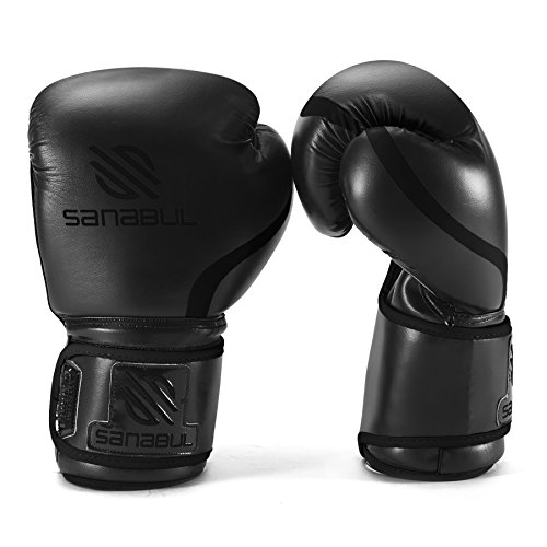 Sanabul Essential Gel Boxing Kickboxing Training Gloves (Allblack, 16 oz)