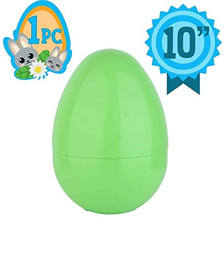 Totem World Jumbo 10-Inch Solid Green Easter Egg - The Perfect Size For Holding Toys, Candy Bars, And Stuffed Animals - Easy To Open, Tough To Break - Great As Party Favors And Easter Basket Stuffers ()