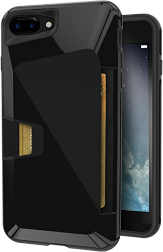 Smartish iPhone 7 Plus/8 Plus Rugged Wallet Case - Vault Armor Wallet for iPhone 7+/8+ [Protective Non-Slip Grip Credit Card Cover] (Silk) - Jet Black