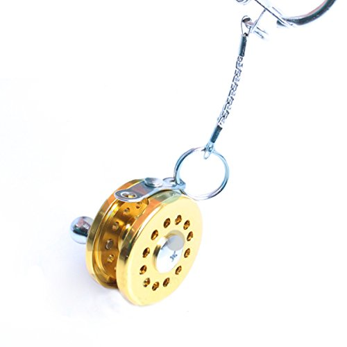 DigRepair Cool Fly Fishing Reel Miniature Novelty Gift Charm Diameter 25 Mm Key Chain New