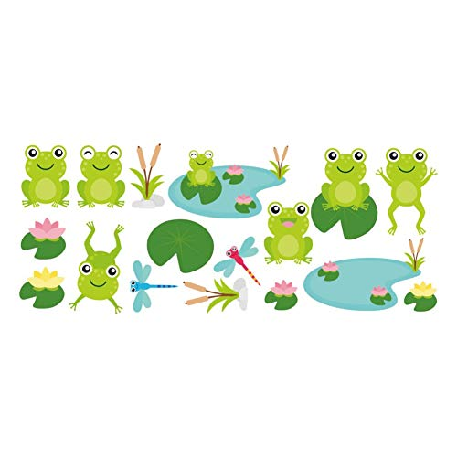 LSWSSD DIY Cartoon Frog Wall Sticker Poster Cute Animals Vinyl Wall Decals for Kids Bedroom Bathroom Waterproof Mural Home Decor ()