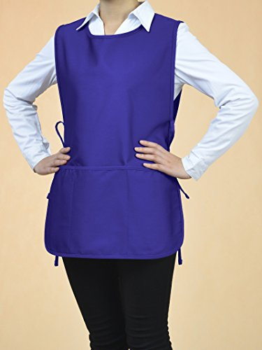 VEEYOO Chef Cobbler Apron with 3 pockets, Polyester Cotton, Art Smock Aprons for Unisex Adult Men Women, Royal Blue, Plus Size Large 23x32 inches by VEEYOO (Image #3)