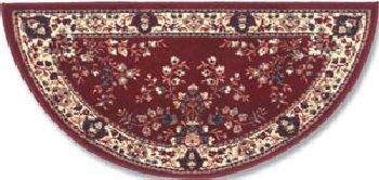 Oriental Virgin Wool Hearth Rug - 44'' Burgundy Oriental Virgin Wool Half-Round Rug