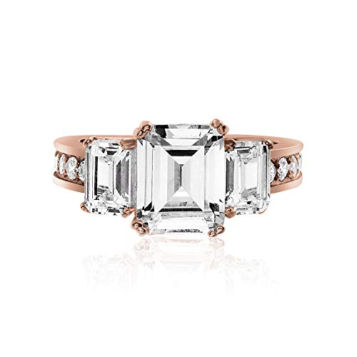 Diana Sterling Silver Ring - Devin Rose Rose Gold Plated Sterling Silver Three Stone Emerald Cut Cubic Zirconia Anniversary/Engagement Ring for Women (Round 7)