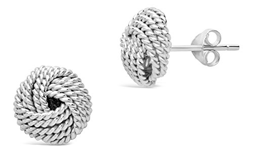 Sterling Mesh Silver Knot - Sterling Forever - Textured Knot Mesh Earrings in .925 Sterling Silver with Post Back