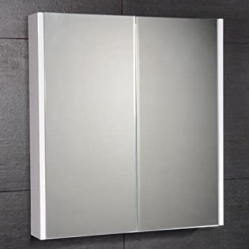 Bathroom Mirror Cabinet 60cm X 65cm Wall Storage Furniture Mounted Hung Recessed Large Modern Designer Glass