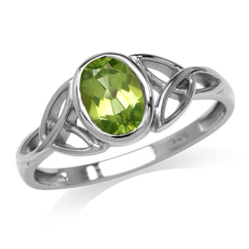Natural Peridot White Gold Plated 925 Sterling Silver Triquetra Celtic Knot Ring Size 6.5 (Knot Celtic Peridot)
