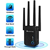 ALLYAG WiFi Extenders Signal Booster  1200Mbps Routers for Wireless Internet   4 WiFi Antenna 360 Full Coverage Network, 2.4&5GHz Dual Band WiFi Repeater Range Extender (1200 Mbps)