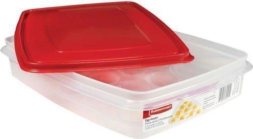 Rubbermaid - Egg Keeper-red Cover, 2 Pk, Holds 20 Jumbo Eggs, Clear, Plastic ()