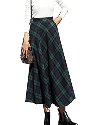 Pandapang Womens Retro High Waist Swing Plaid Long Wool Blend A-Line Skirt Green Medium
