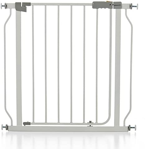 Barrera seguridad METALICA color BLANCO. Rápido, cómodo y fácil montaje. Una SEGURA barrera seguridad niños, segura proteccion del peligro de escaleras, garajes, puertas, patios. KOKETES: Amazon.es: Bebé