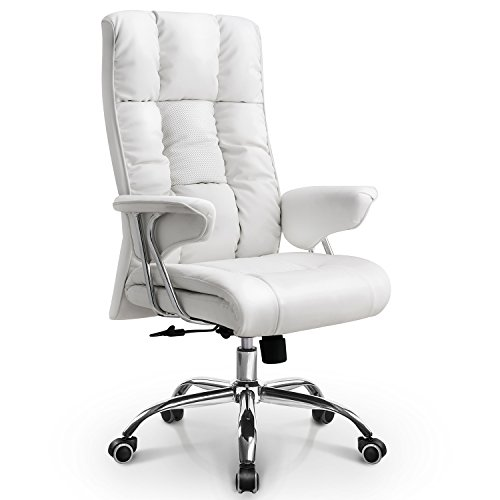 Executive Office Furniture Package - Neo Chair Unique Executive Office Chair Upgraded Class A Durable Wheels 300LB Soft Bonded Leather Upholstery & Thick Padded Seat & Back for Comfortable Adjustable Computer Desk Home Chair, White