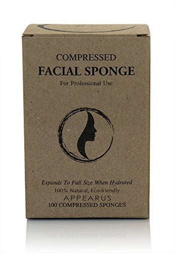 Appearus Compressed Natural Cellulose Facial Sponges, White (100 count/S1901W)