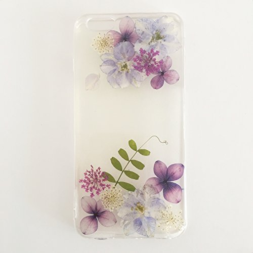 Sunday Gallery Handmade Floral Real Pressed Dried Flowers TPU Gel Rubber Skin Silicone Protective Plastic Soft Phone Case Cover For iPhone 6 Plus 6s P…