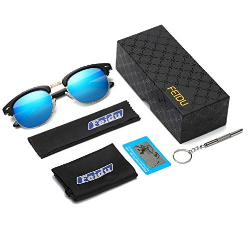 763a2a636c FEIDU Retro Polarized Clubmaster Sunglasses for Men Half Metal Women FD3030  2.04 ) FD 3030