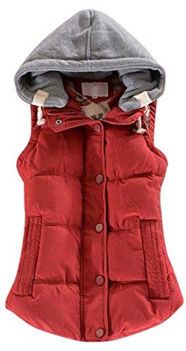 水銀のオートメーションオフWAYA- 女性の冬の厚いウォームボタンフード付きダウンベスト