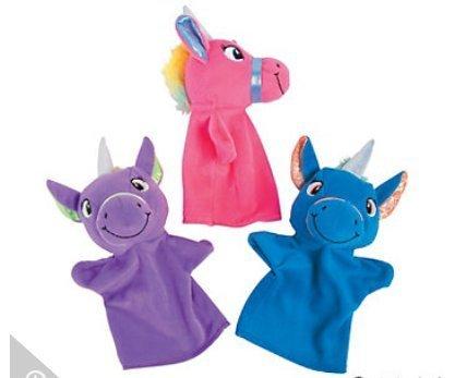 Unicorn Plush Hand Puppets Unicorn - Stocking, Basket, and Birthday Party Toys (3 Pack)