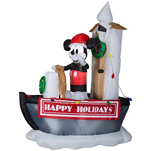 Disney Lighted Mickey Mouse on a Ship Christmas Inflatable 6.99-ft ()