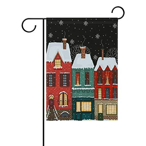 Ashasds Exquisite Double Sided Winter Street in The Old Town Merry Christmas Polyester Garden Flag Banner 12 x 18 Inch for Outdoor Home Garden -